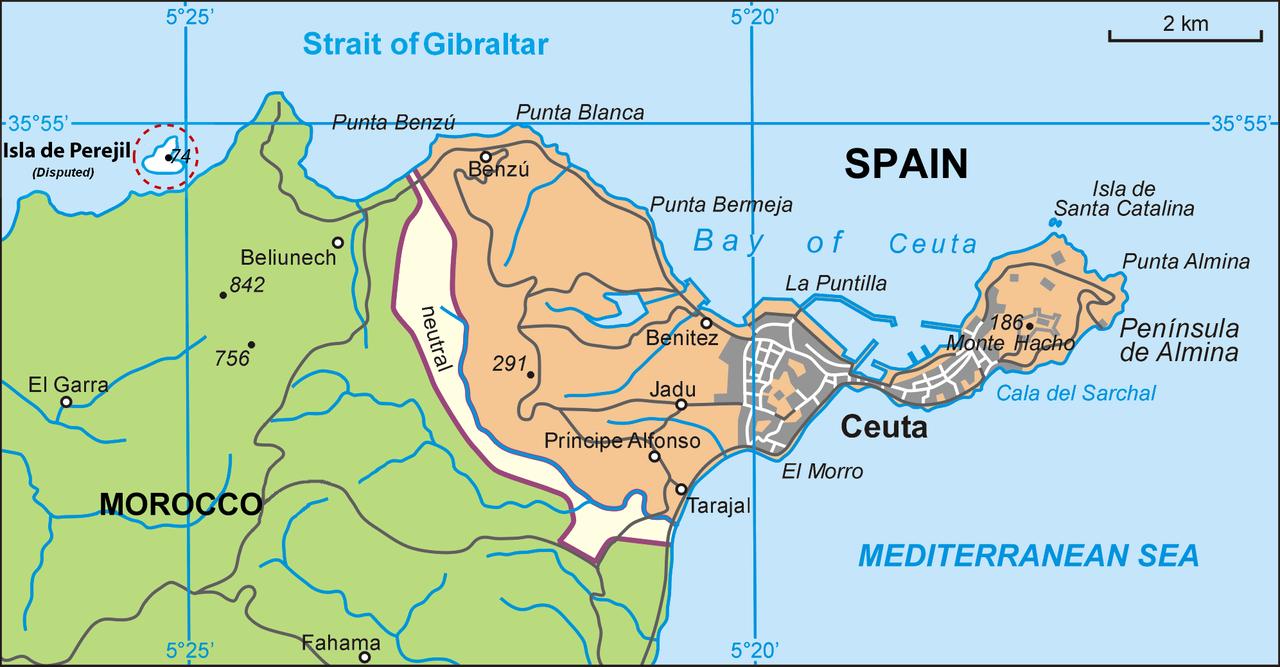 španělská enkláva Ceuta na africkém pobřeží