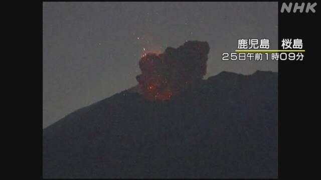 Kagošima Sakurajima Výbušná erupce Dejte si pozor na velké vulkanické kameny a pyroklastické toky